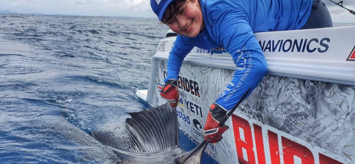 Catching blue marlin off the coast of Costa Rica
